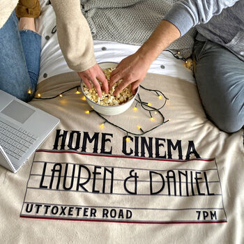 Personalised Home Cinema Family Fleece Blanket