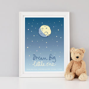 Personalised 'Dream Big Little One' Nursery Art Print - posters & prints