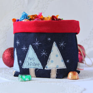 Christmas Embroidered Storage Pot