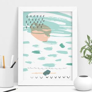 Turquoise And Peach Abstract Art Print - modern & abstract