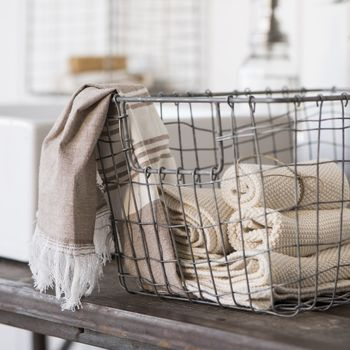 Wire Storage Basket With Open Handle