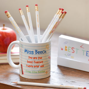 Best Teacher Personalised Mug And Pencil Set - whats new