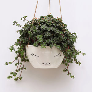 Ceramic Hanging Planter With Lady Face