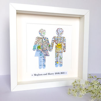 Personalised Couple Map Picture / Wedding Gift