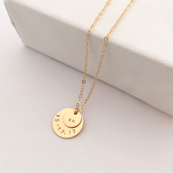 Gold Double Disc Personalised Necklace