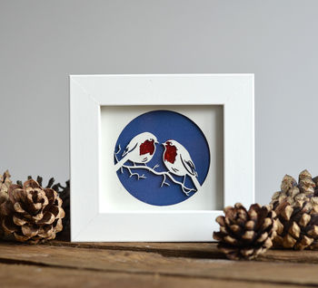Miniature 'Robins' Christmas Paper Cut