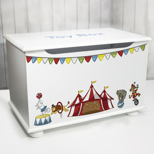 Personalised Toy Box Circus Design - toy boxes & chests
