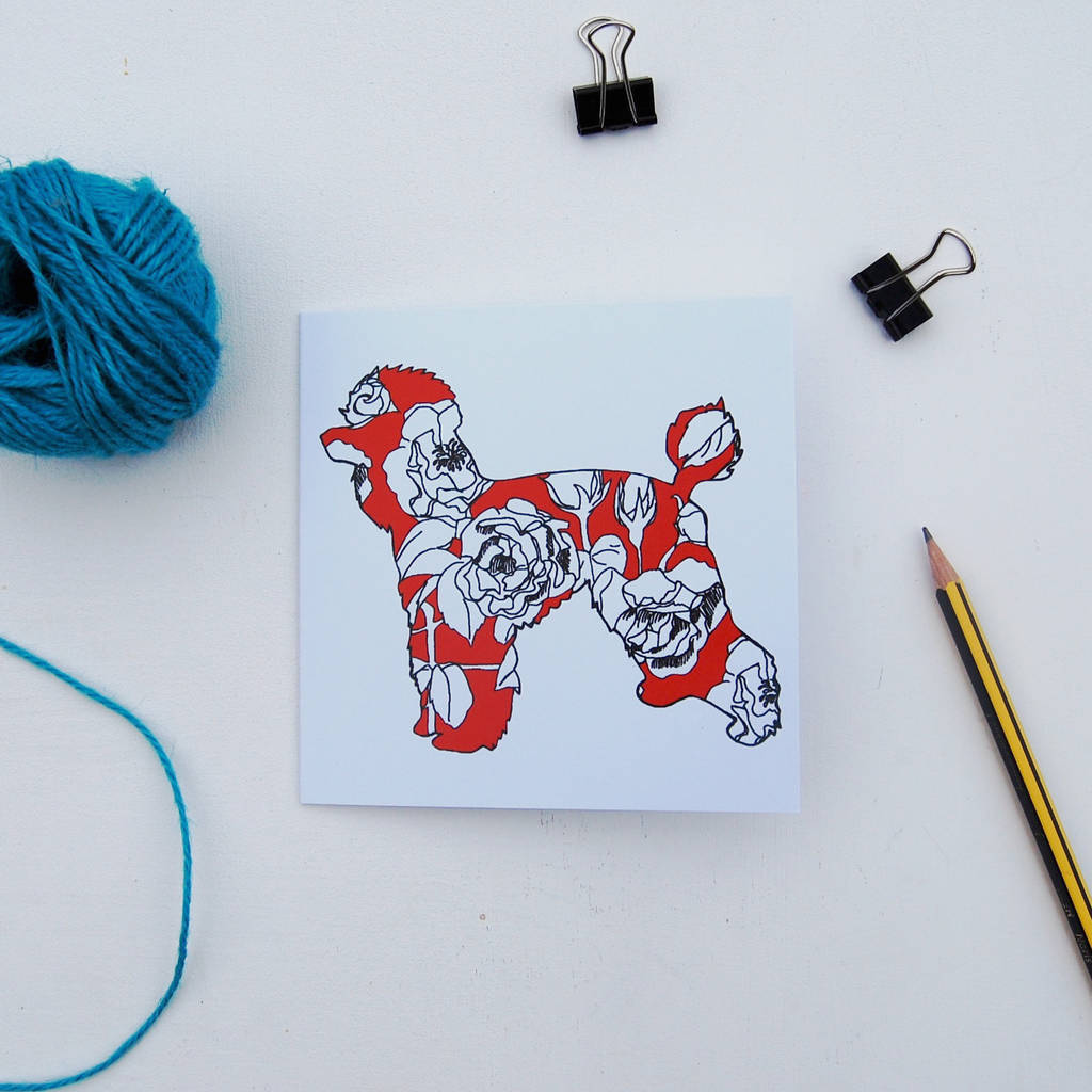 Red Pattern Poodle Card