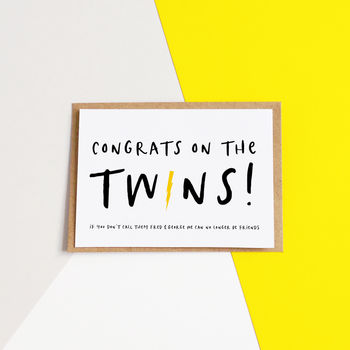 Funny Twins New Baby Card