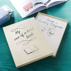 Silver Embossed Personalised Book Of Nursery Rhymes - new baby gifts