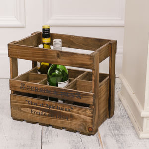 Wooden Six Wine Bottle Storage Crate - wine racks & storage