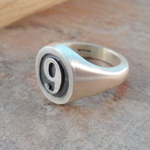 Personalised Number Oval Silver Signet Ring