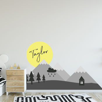 Personalised Children's Mountain Wall Sticker Scene