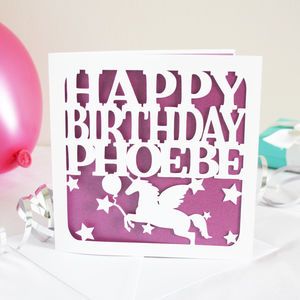 Personalised Unicorn Birthday Card - birthday cards
