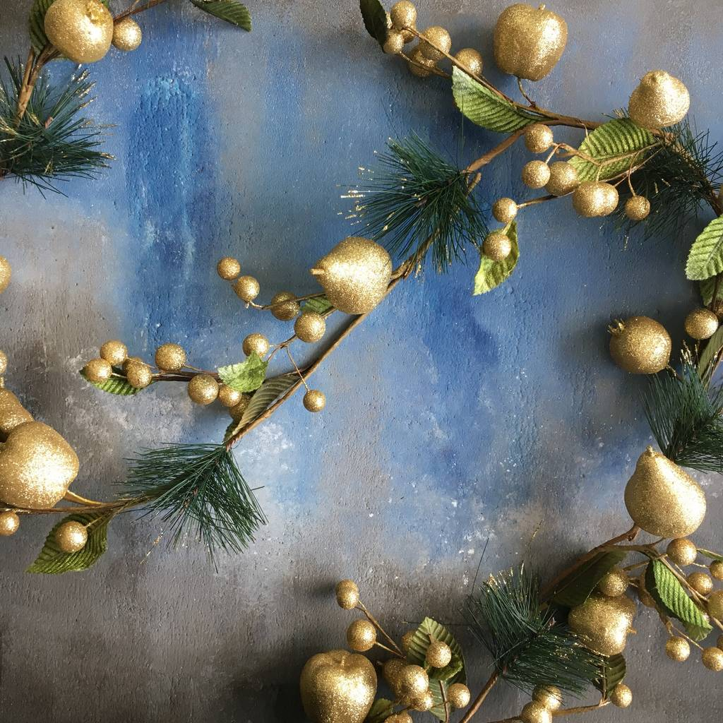 Gold Fruit Christmas Garland
