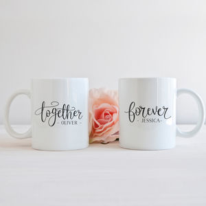 Personalised 'Together' 'Forever' Couples Mug Gift Set