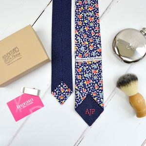 Handmade Mix And Match Personalised Tie : Navy Floral