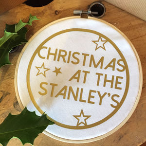Personalised Christmas Embroidery Hoop