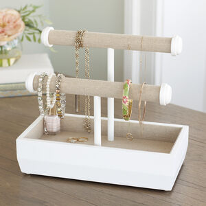 White Wooden Double Bar Jewellery Stand