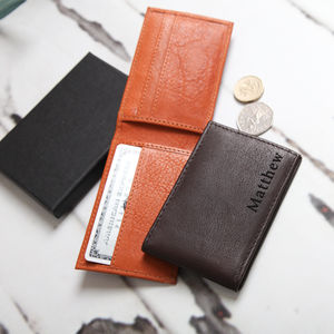 Personalised Men's Mini Leather Wallet - more