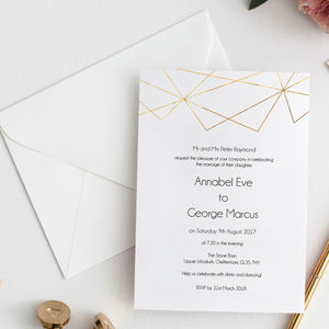 Geometric Foil Wedding Invitation Collection