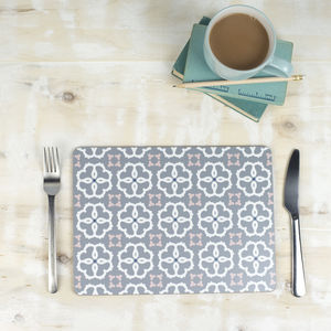 Ines Placemat, Grey Geometric Tablemat - placemats & coasters