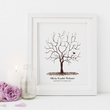 Personalised Christening Fingerprint Tree Print