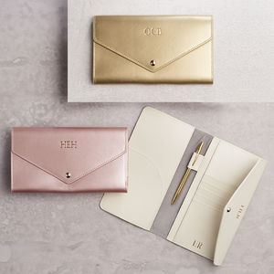 Metallic Leather Travel Wallet - personalised gifts