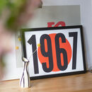 Minimalist Retro Personalised Year Number Print