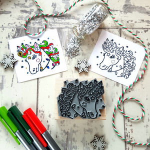 Unicorn Christmas Colour In Rubber Stamp