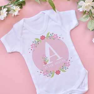 Personalised Floral Letter Vest - gifts for babies