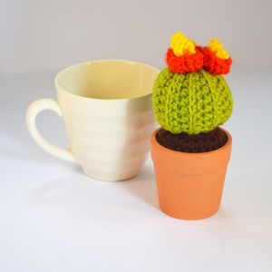 Crocheted Amigurumi Cactus Small Orange And Red - flowers, plants & vases