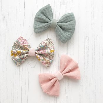 Little Love Cotton Bow Hair Clip/ Wildflower