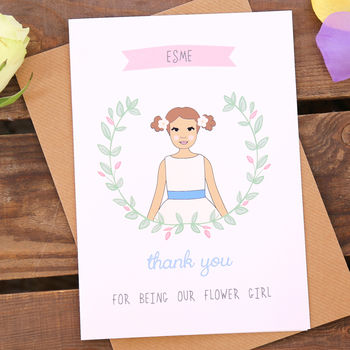 Flower Girl Personalised Thank You Or Will You Be Card
