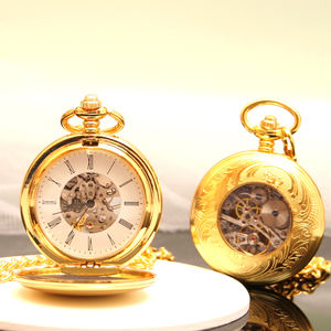 Gold Engraved Pocket Watch With Antique Style Back - watches