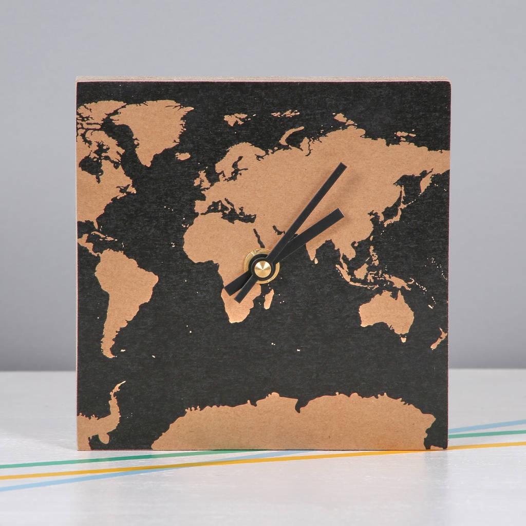 World Map Square Wall Clock
