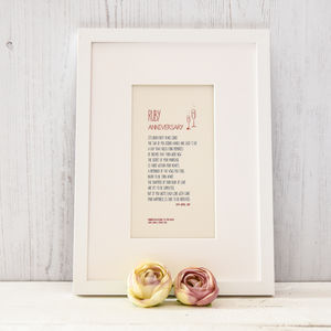Framed Ruby Wedding Anniversary A4 Print - dates & special occasions