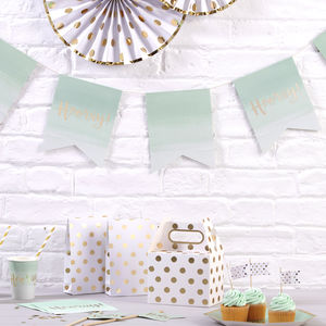 Mint Ombre Gold Foiled Hooray Party Bunting - decorative accessories