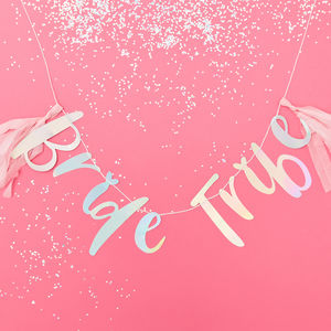 Iridescent Bride Tribe Hen Party Bunting With Tassels