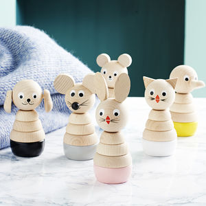Set Of Six Wooden Stacking Toys - traditional toys & games