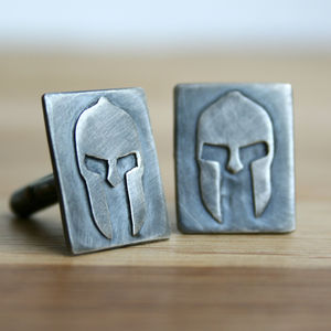 Spartan Warrior Oxidised Silver Cufflinks