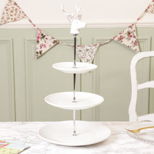 Stag Three Tier Ceramic White Cake Stand - cake stands
