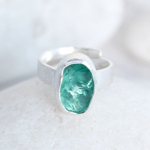 Apatite Natural Gemstone Adjustable Ladies Silver Ring - rings