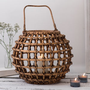 Round Garden Candle Lantern Bamboo - home accessories