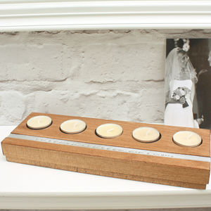 Personalised Wooden Five Tealight Holder - candles & home fragrance
