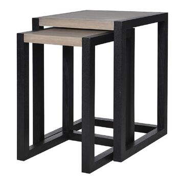 Ebony Black Nest Of Two Tables