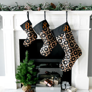 Personalised Christmas Stocking In Black And Copper - stockings & sacks