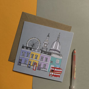 London Cityscape Illustrated Greetings Card - new home cards