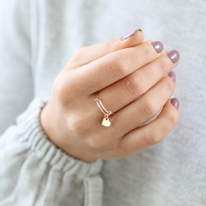 Rose Gold Personalised Heart Charm Ring - new in jewellery