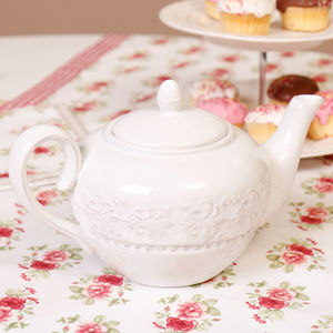 Amelie Vintage White Ceramic Scroll White Teapot